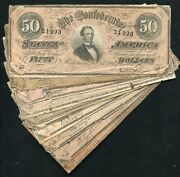 Lot Of 10 1864 50 Fifty Dollars Csa Confederate States Of America Notes