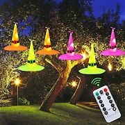 Halloween Decorations Witch Hat 6pcs Battery Powered Hat String Light 33 Ft.
