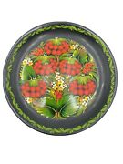 Russian Lacquer Wood Wall Hanging Plate Strawberry And Leaves Hand Painted Signed