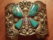Wide Sterling Museum Quality Turquoise Butterfly Bracelet Cuff Navajo Cadman
