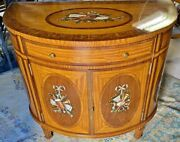 Rare Maitland Smith Demilune Adams Satinwood Painted Decorated Cabinet Server