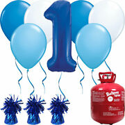 Happy Birthday Blue Balloons And Helium Gas Canister Pack. Party