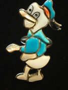 Vintage Donald Duck Ring. Inlay Turquoise, Coral, Mother Of Pearl, Rare Sz 7