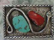 Vintage Navajo Turquoise And Coral Silver Snake Silver Belt Buckle
