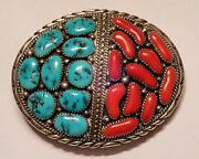 Vintage Native American Navajo Turquoise And Coral Sterling Silver Belt Buckle