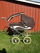 Vintage Giuseppe Peg Perego Stroller Carriage Bassinet Combo Brown Italy