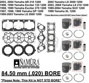 Yamaha Ar 210 Gp Xl Lx Suv 1200 Exciter Listed 84.50 Mm Bore Pistons Rebuild