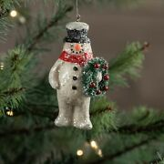 Ragon House Frosted Snowman With Wreath Christmas Ornament