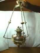 Antique Brass And Copper Hanging Paraffin Oil Lantern Lamp L22