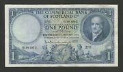 The Commercial Bank Of Scotland 1 Pound 1956 Vf+ Banknote - 27h Prefix