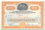 United States Lines Company Stock Certificate Issued To Vincent Astor