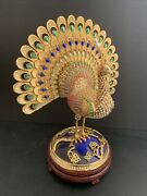 Stunning 10andrdquo Heavy Jeweled Metal Peacock - Make Offer Must See