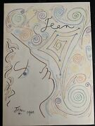 Color Drawing Of Face And Patterns Signed Andldquojean 1960andrdquo