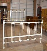 Antique White Painted Iron And Brass Full Size Bed