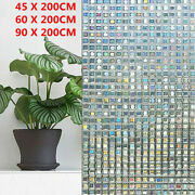 45/60/90x200cm 3d Frosted Privacy Mosaic Window Film Stained Glass Static Cling