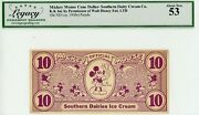 Vintage Southern Dairies Cone Dollar - 10c - Graded About New 53 - Disney 100