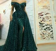 Long Formal Evening Dress Detachable Train Off Shoulder Stylish Modern Gowns New