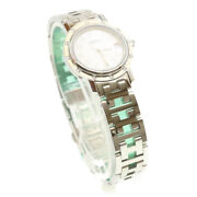 Hermes Watch 12 Diamond Stones Silver Tone Stainless Auth 18908