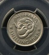 1946-p Australia Silver One Shilling Coin - George Vi - Low Mintage - Pcgs Ms63