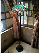Teal Victorian Vintage Stained Glass Style Floor Lamp, Peacock, 2-light