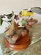 Ooak Vtge Hand Carved Painted Wooden Bird Statue/decoy Goldfinch Feeding Chicks
