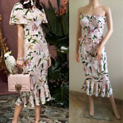 Dolceandgabbana Fw2019 Strapless Embellished Top And Skirt Set Suit It40 Us4