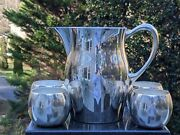 Sheriden 7 Fine Silverplate Water Pitcher + 4 Poole Epca 2.5 Goblets/cups 835