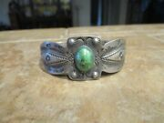 Scarce 1910-30's Navajo Coin Silver Turquoise Whirling Log Bracelet W Lozenges
