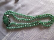Antique Chinese Jadeite Jade Double Beaded Carved Repousse Clip Necklace Sterl
