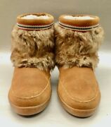 Minnetonka Suede Tan Leather Boots Faux Fur Womenand039s Moccasin Booties Ladies Size