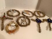 Vintage Victorian Set Of 8 Christmas Ornaments Tinsel And Chenille