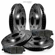 Full Kit Black Drilled Slotted Brake Rotors And Pads For 2007-2011 Volvo S80