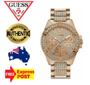 Guess Frontier W0799g3 Rose Gold/crystal Chronograph Mens Watch New In Box
