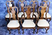 Set 8 Eight Queen Anne Style Dining Chairs Set Side Armchair Vintage Antique