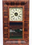 Early 19th C. All Original E.n. Welch Ogee Clock 26h Reverse Painting Antique