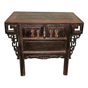 Early Chinese Teak Cabinet Table Original Sideboard Chest Console Side Antique