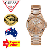Guess Frontier W1156l3 Rose Gold/crystal Chronograph Womens Watch New In Box