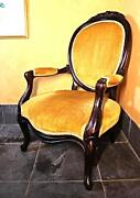 19th Century Antique Victorian Salon Parlor Upholstered Armchair Accent Chair