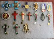 Lot Vintage Enamel Badges Religious Cross Chatolic St. Die Our Lady Christian