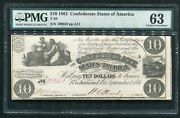 2 Consecutive T-28 1861 10 Csa Confederate States Of America Notes Pmg Unc-63