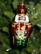 Vtg Christmas Ornament Toy Soldier And Drum Huge Blow Mold Hard Plastic 7andrdquo Rare