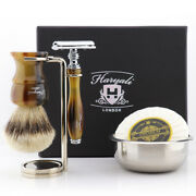 Classic Starter Shaving Kit With Silver Tip Bristle Knot Brush And Safety Razor