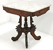 Early 19th C Marble Top Victorian Walnut Parlor Table Side Coffee Antique