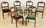 Set 6 Antique Victorian Needlepoint Upholstered Dining Room Chairs Side Accent
