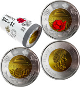 2018 Special Wrap Roll 25 Toonies - 100th Anniversary Armistice Canada 2 Coins