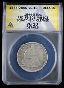 1844-o Seated Liberty Half Dollar Rpd Anacs Vg 10 Details Repunched Date