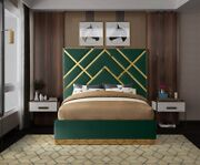 King Size Bed Green Velvet Gold Metal Base Bedroom Furniture Contemporary Style
