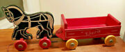 Vintage Cherie Wooden White And Black Horse W/ Red Wagon Pull Toy