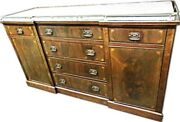 Antique Sheraton Mahogany Inlaid Sideboard Buffet Marble Top Bronze Furniture