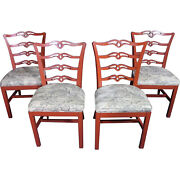 Four 4 Red Painted Side Dining Room Chairs Set Antique Vintage Armchair End Sofa